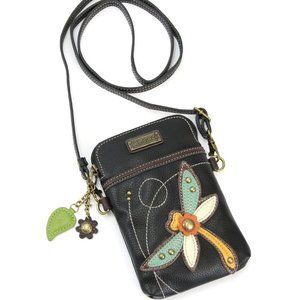 Chala Dragonfly Cell Phone CrossBody Bag, Black